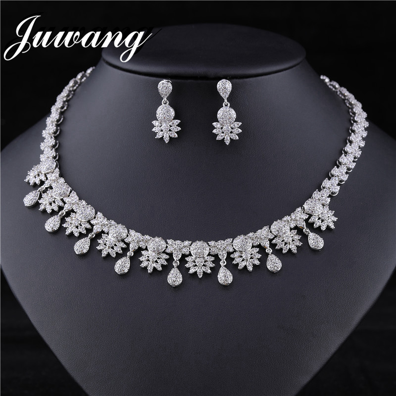 JUWANG Baroque Vogue Princess Necklace Earrings Sets Bling Bridal Copper Wedding Jewelry Handmade High Quality Stainless Choker