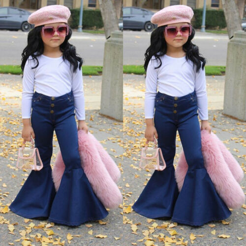 Free Shipping Fashion New Kids Baby Girl High Waist Flared Denim Pant Jeans Bell Bottom Outfits Children Clothes 1-6Y
