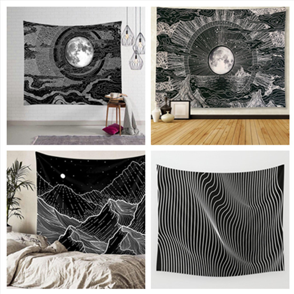 Moon Sun Wall Hanging Beach Towel Art Nordic Tapestry Bohemian Polyester Mandala Pattern Blanket Cover Home Decor