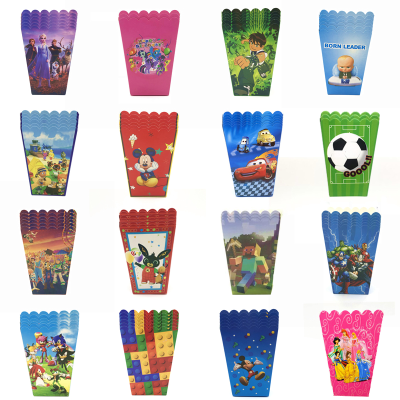 Wholesale Mickey Minnie Mouse toys Car Unicorn Popcorn Box Kids Birthday Party Supplies Paper Popcorn box Baby Shower Party Box