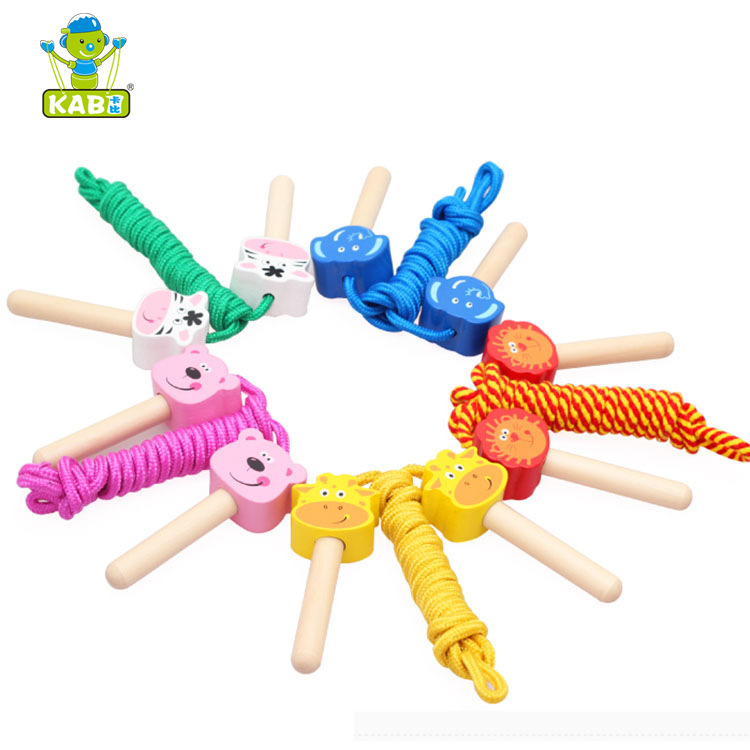 Wooden Cartoon Jump Rope Toy Educational Animal Ringtoss Wood Children Building Blocks Toy Kindergarten