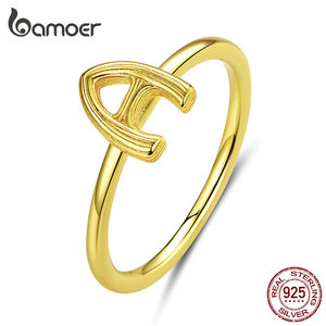 bamoer Letter A Alphabet Finger Rings for Women Authentic 925 Sterling Silver Fine Jewelry Bijoux Anti-allergy Girl Gifts BSR083