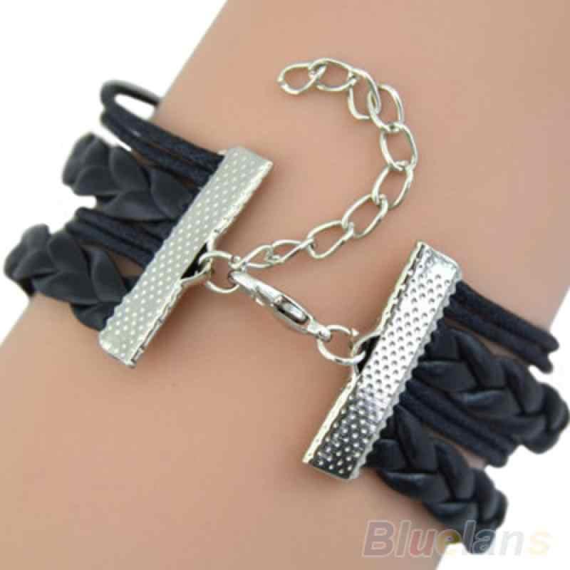 Testa di Lupo Infinite Knit Braccialetto di Cuoio Del Regalo