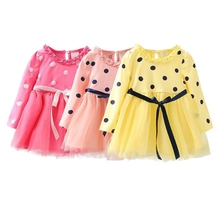2019 Wave Point Above Knee Spring Autumn Casual Fashion Baby Girl Long Sleeve Bubble Mesh Princess Dress#E