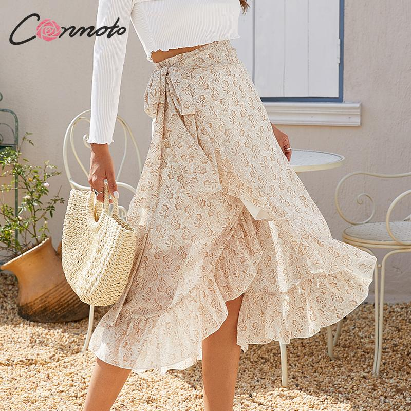 Conmoto Midi Summer Beach Boho Skirts Women Floral High Waist Ruffles Casual Skirts Vintage Wrap Bow Ladies Skirt