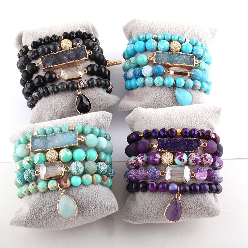 RH New Designer Empire Stones Beaded Bracelet Natural Stone Dorp Charms 5pc Bracelets Sets For Women Jewelry DropShip