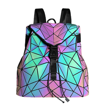 Fashion Luminous Women backpack Drawstring folding backpack Triangle Sequin Backpack for Reflective strip Female student bag - Category 🛒 Luggage & Bags