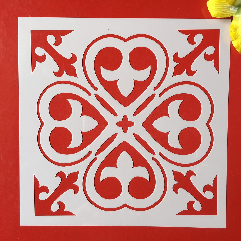 New 8*8inch Flower Clover Background DIY Layering Stencils Painting Scrapbook Coloring Embossing Album Decorative Template