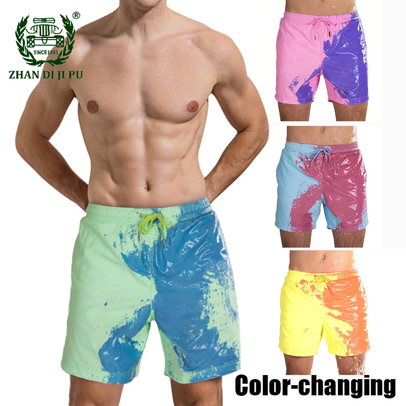 Mens Color-changing Shorts Summer Quick Dry Swimwear Hawaiian Beach Pants Magical Temperature Discoloration Surfing Board Shorts
