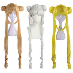 Anogol Cosplay Wig Costume Blonde Curly Sailor-Moon Double-Ponytail Synthetic Long Party