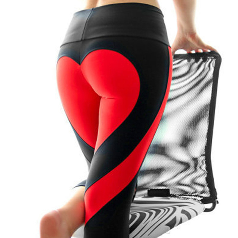 Women New Heart Yoga Pants Solid Patchwork Sport Leggings Plus Size Running Fitness Gym Legging Female Push Up Energy Tights image
