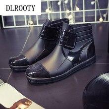 Men Rainboots Black Waterproof Rain Boots Ankle Water Shoes