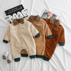 2019 children winter jumpsuit baby plus velvet romper