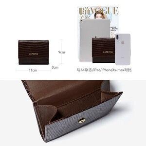 Image 3 - LA FESTIN Eidechse muster leder tri falten brieftasche kurze brieftasche weibliche compact ultra dünne, weiche leder klapp münze geldbörse
