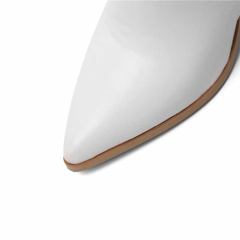 ASUMER 2020 yeni yarım çizmeler kadınlar için sivri burun bayanlar üzerinde kayma balo çizmeler kalın yüksek topuklu sonbahar kış çizmeler büyük boyutu 34-43