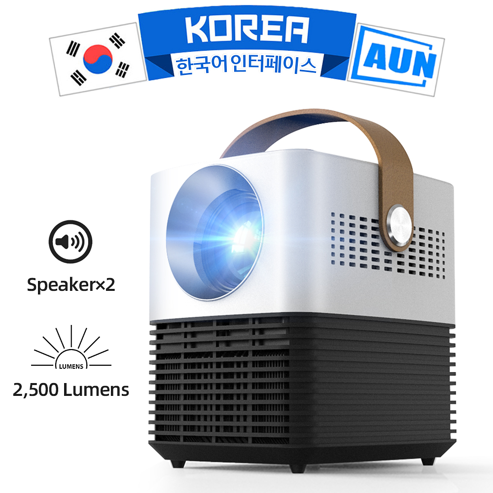AUN New LCD Mini Projector L7, 2500 Brightness, 30,000 Hours <font><b>LED</b></font> Lifetime, Protable 3D Projector for Home Theater, Support 1080p image