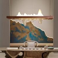 New Chinese Pedant Lamps Long Modern led Pendant Light Front Tea Room Studio Art Deco Hanging Light Dining Room led Hanging Lamp