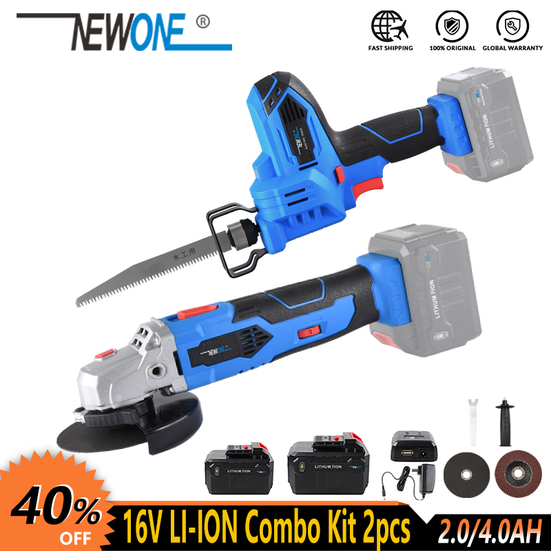 NEWONE 16V Cordless Power Tool Li-ion Angle Grinder Reciprocating Saw Saber Saw Handsaw Combo Kit With Battery For Cutting Grind