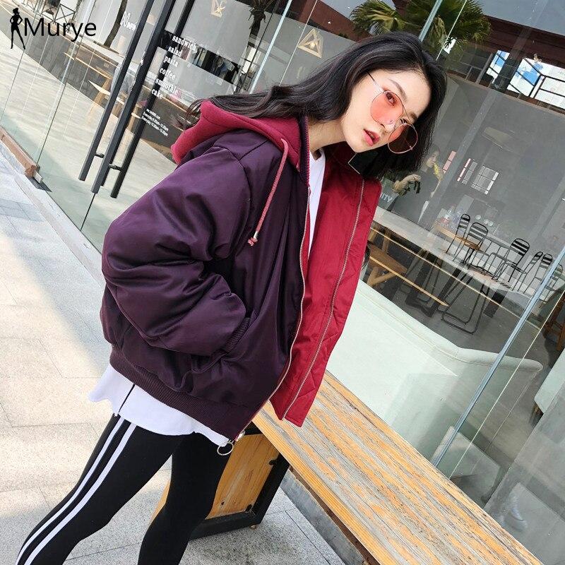 Veste d'hiver femmes manteau 2019 surdimensionné à capuche Parka épaissir vestes à capuche patchwork lâche bouffer coton rembourré chaud femmes vêtements nouveau