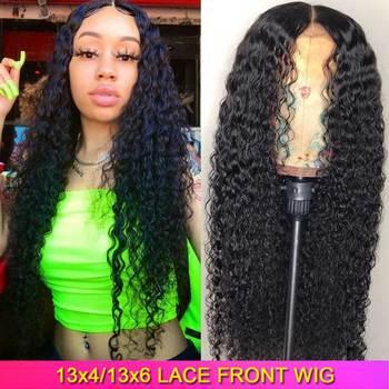 13X6 13X4 Синтетические волосы на кружеве человеческие волосы парики предварительно вырезанные 150 плотность Реми бразильские кудрявые Синтети...