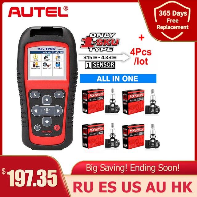 Autel TPMS sensörü MX sensörü 2 in 1 lastik tamir araçları TPMS sensörü ile destek programlama TS501 TS508 eşit 433 MHZ + 315MHZ