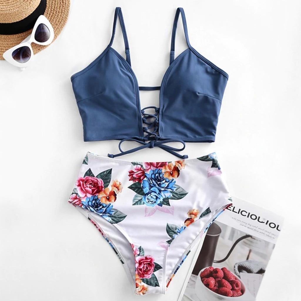 2020 New Women's Sexy Biquini Split Underwear Set Floral Printing Bathing Suit Bandage Lengerie Female Intimates Traje De Baño