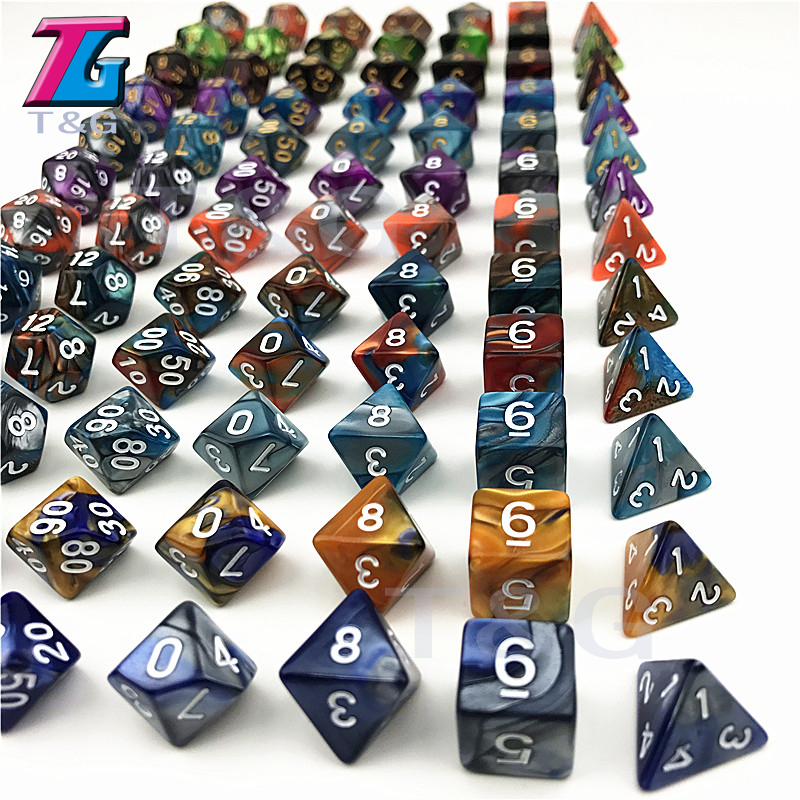 Hot Sales Rpg Dice Set Cool Mix-color Dice Of 7PCS/ Set Dnd Cube Games Dice For Board Game/ Role Playing Game For Gift Dnd Rpg