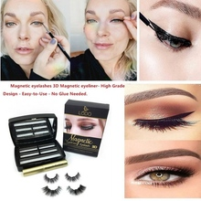 2 Pairs Magnets False Eyelashes Eyeliner Set Beauty Makeup Tool Magnetic