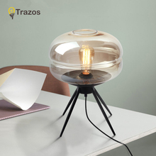 LED Table Lamp With Glass Lampshade Smokey grey/Amber Bedside Desk lights Button Switch Book Lamp Hotel Reading Lighting Fixture цена