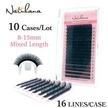NATUHANA 10Cases/Lot 16rows 8~15mm Mix Eyelashes Synthetic Mink Eyelash Extension Natural Fake False Lashes Soft Makeup Cilios