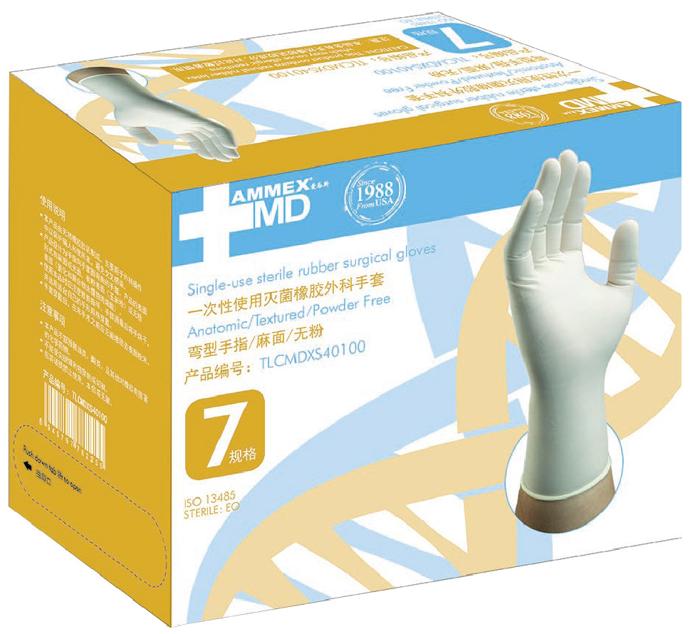 Genuine Product AMMEX AmMex Disposable Sterilization Rubber Surgical Gloves Powder-Free Pits Surgical Gloves