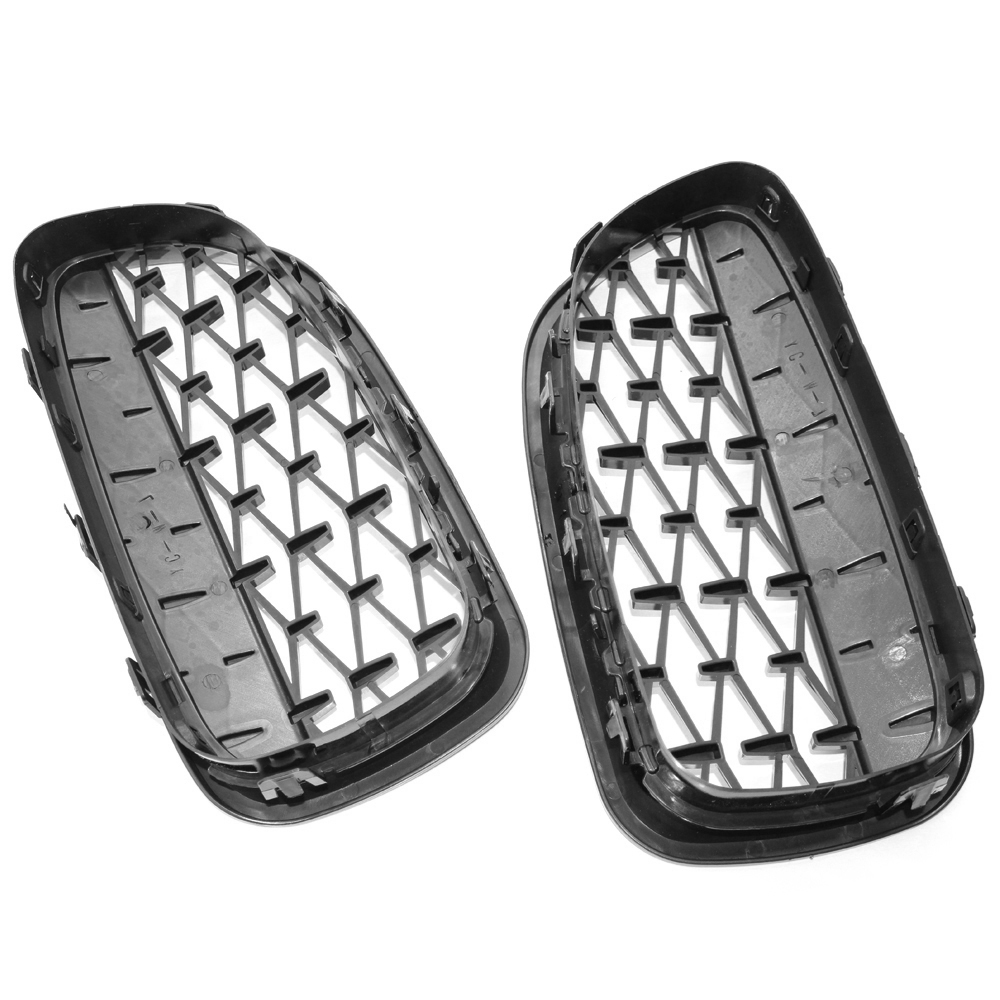 2PCS Racing Grills For BMW F10 F11 F18 528i 535i 5 Series 2010-2016 Front Grill Grille Meteor Bright Black Car Replacement Parts