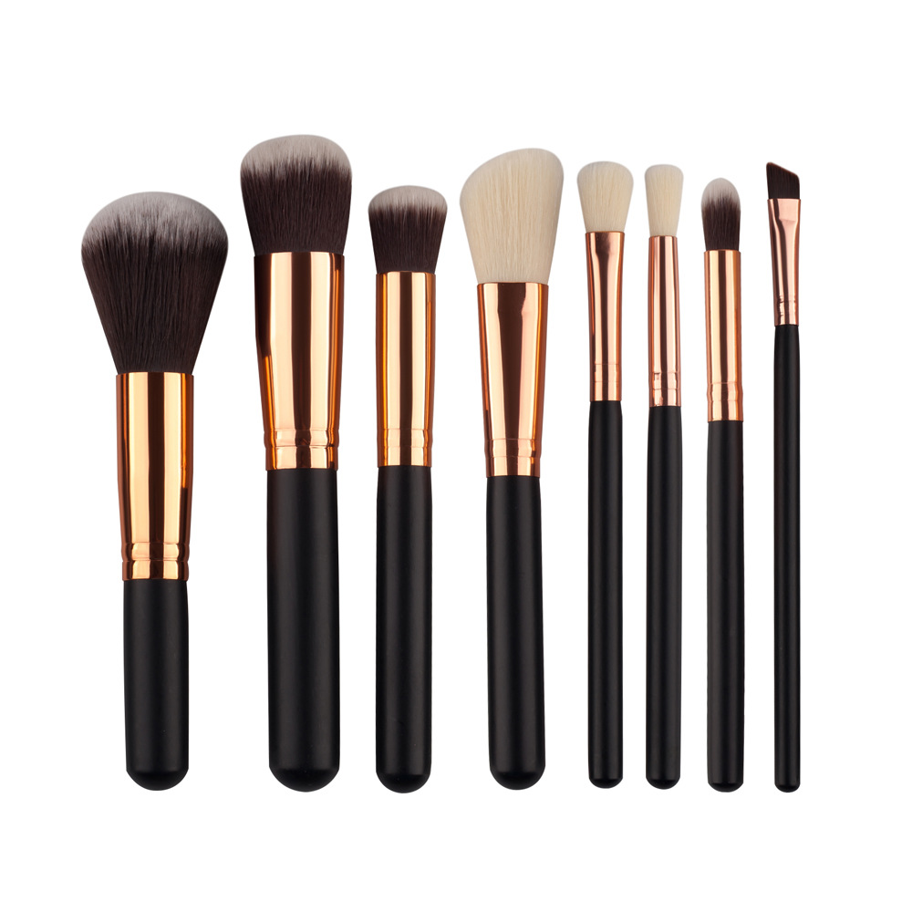 8 Pcs Professional Makeup Brushes Set Tools Powder Foundation Eyeshadow Lip Eyeliner Blush Bronze Nylon Face Makeup Brushes