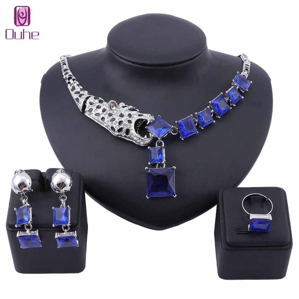 Lüks altın renk mavi kristal leopar bildirimi kolye küpe yüzük kadınlar için parti düğün takısı setleri