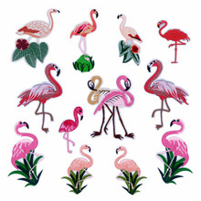 12pcs flamingo embroidered stickers handmade DIY clothing accessories decorative clothing decals