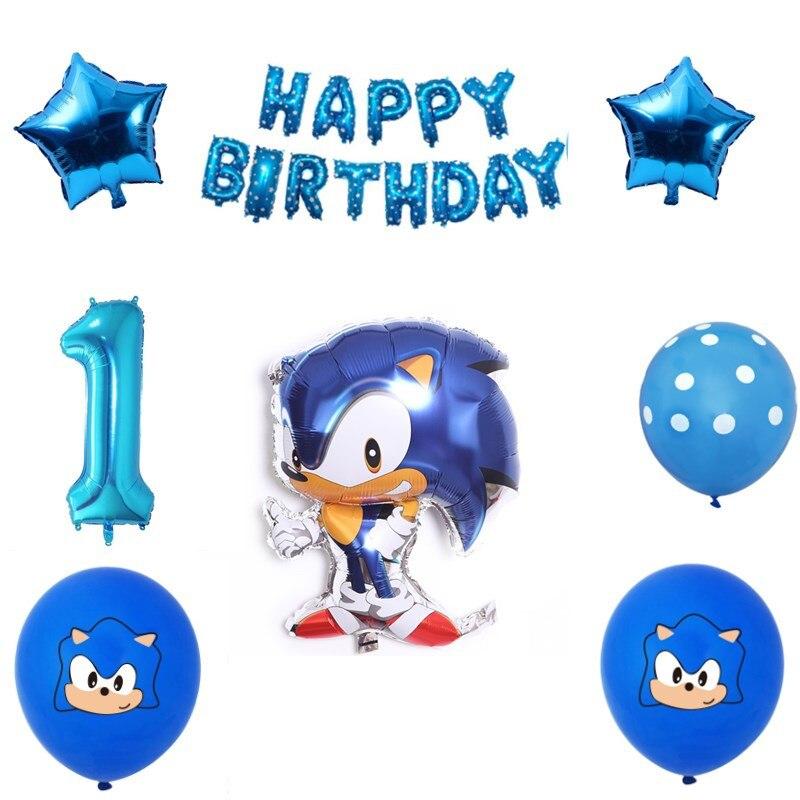 Sonic the hedgehog fontes de festa crianças folha ballons super herói jogo sega fãs tema festa de aniversário do bebê decoração ballon