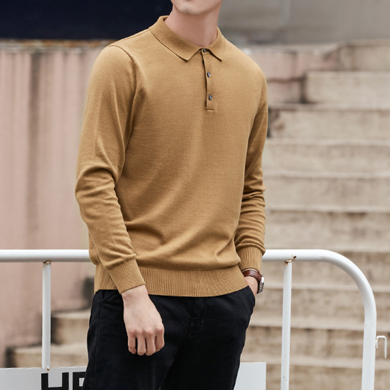 New Business Polo Sweater Men Long Sleeve Pullover Men Autumn Pull Men Knitted Sweater Male Slim Fit Pullover Cotton Sweater Man