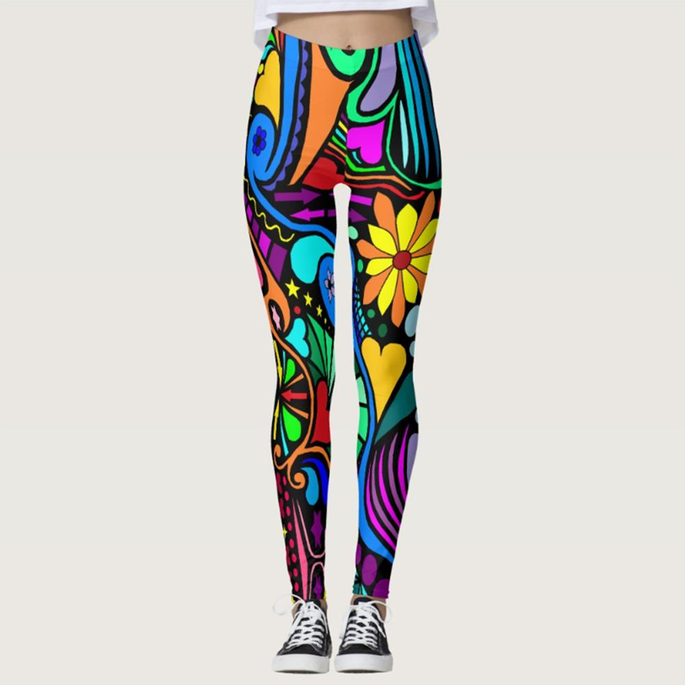 Female Fashion Style Autumn Push Up Skinny Pattern Digital Printing Leggings Outdoor Sportswear Fitness Elastic Force Legging