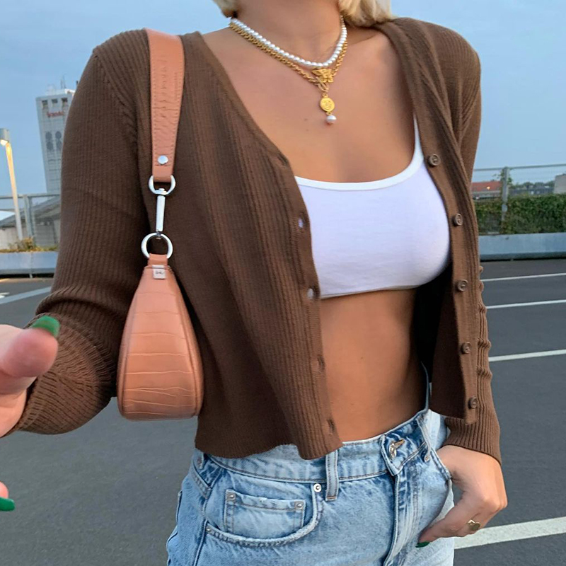 Rockmore Sweater Knitwear Women Autumn Y2K Long Sleeve V Neck Knitted Cardigans Harajuku Korean Brown Crop Tops Solid Outwear
