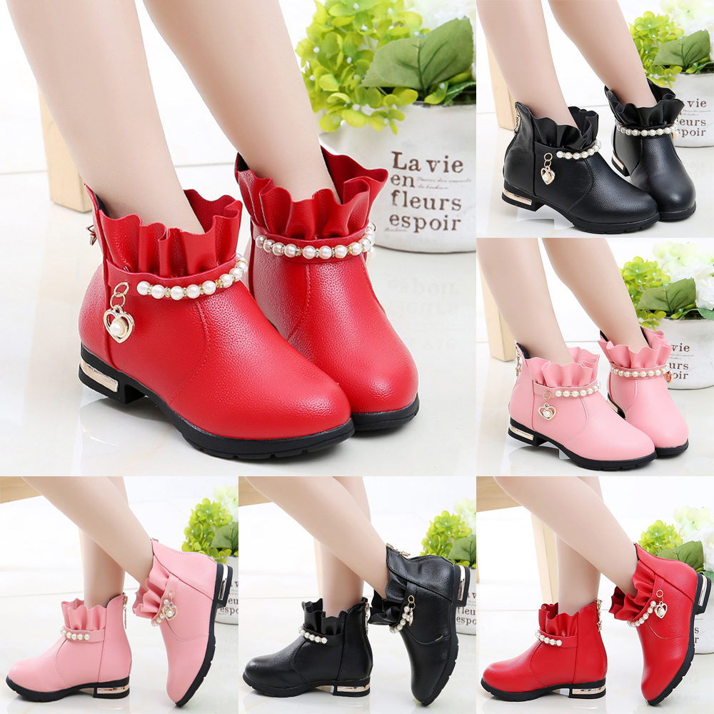 Girls Princess Boots Shoes Low Heels Ruffled Ankle Boots Party Princess Boots UK