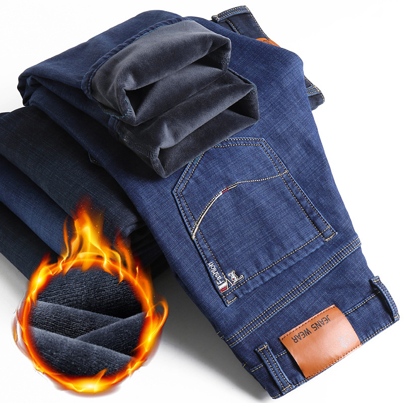 Classic Men Business Warm Thick Jeans 2019 Winter New Fashion Casual Black Blue Elastic Fleece Brand Denim Male Trousers,1838