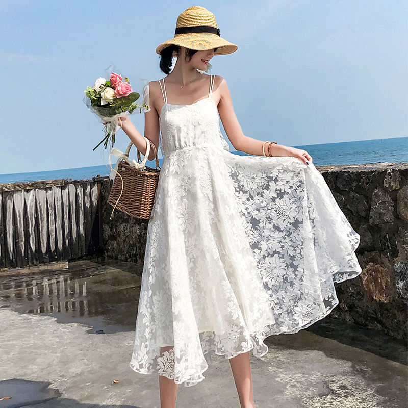 Summer Women White Lace Backless Straps Sundress Female Fairy Elegant Long Party Vacation Beach Dress Vintage Runway Vestidos image