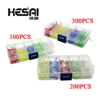 2020!5 kolorów F5 5mm F3 3mm dioda LED zestaw do sortowania zielony niebieski biały żółty czerwony komponenty DIY Kit tanie i dobre opinie HESAI CN (pochodzenie) Nowy Standard LED Diodes Set