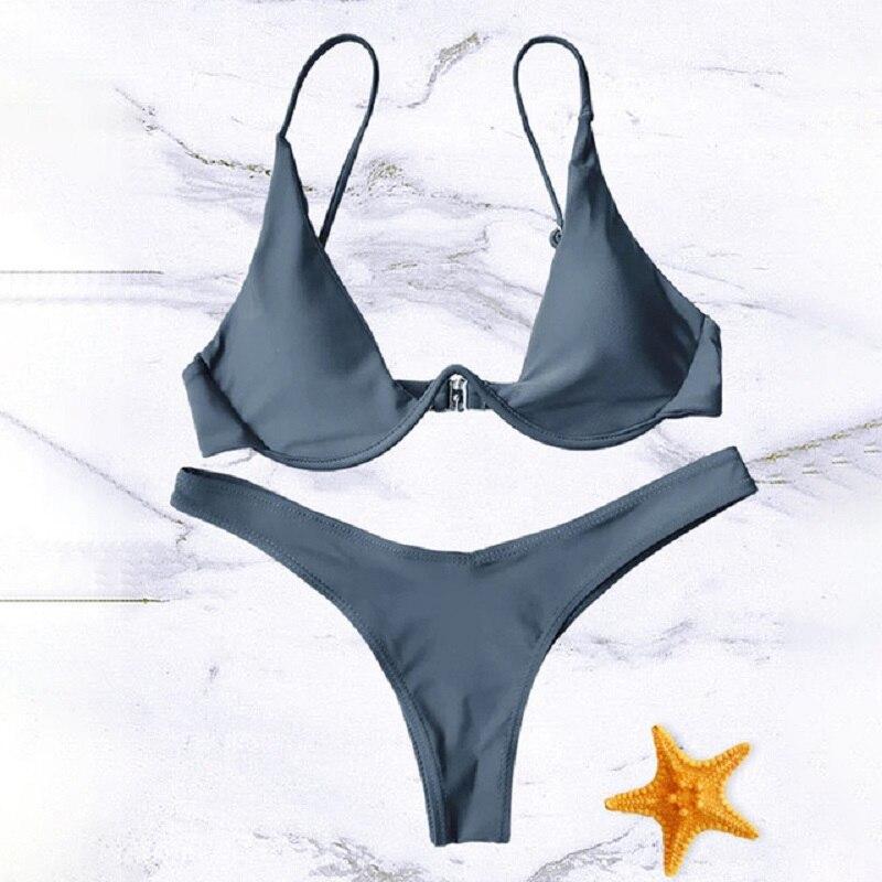 Hot Sale Women Push-up Bandage Bikini Solid Color Swimsuit Low Waist Triangle Swimwear Sexy Bathing Suit Maillot De Bain Femme