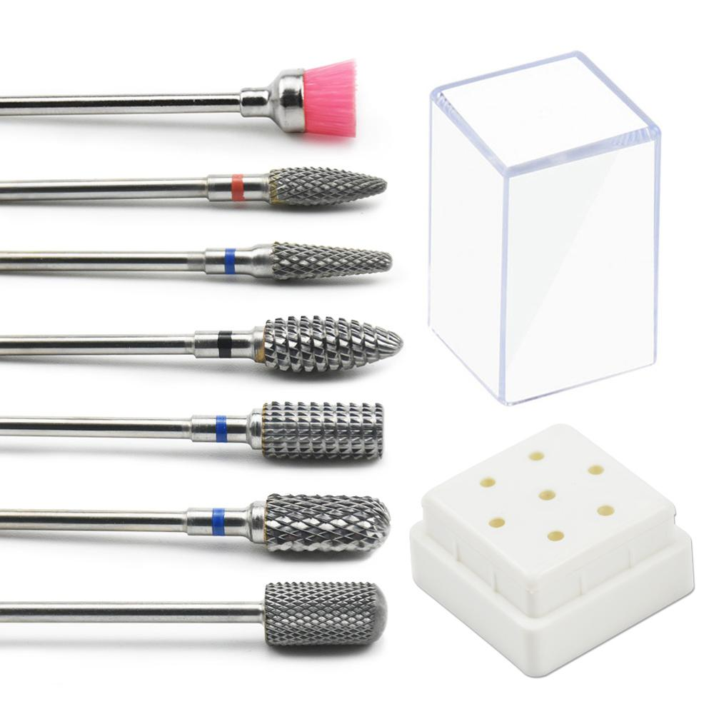 7 Pcs Nail Drill Bits Set With Box Tungsten Carbide Milling Cutter Manicure Machine Accessories Electric Nail Files Nail Tools
