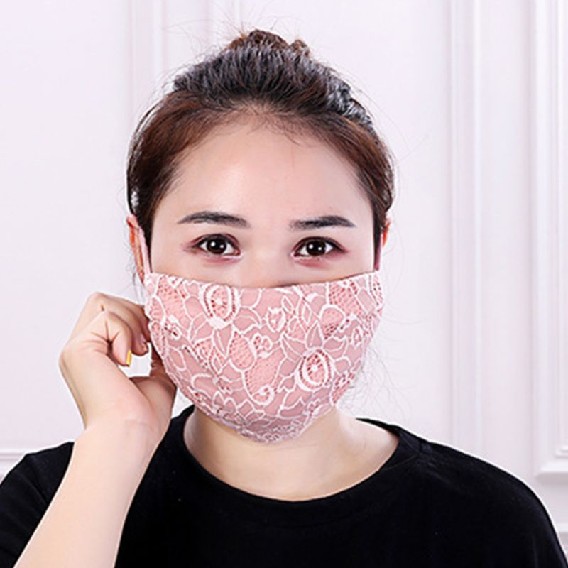 Women Crochet Floral Lace Winter Warm Mouth Mask Anti Dust Windproof Respirator 517D