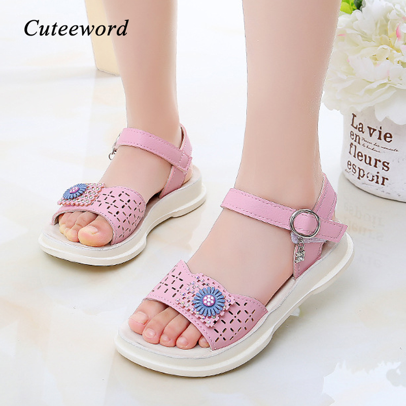 Summer Toddler Girl Sandals 2020 New Hollow Leather Children Shoes Princess Sandals Soft Bottom Flower Girls Shoes Kids Sandals