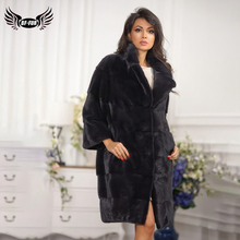 BFFUR 2019 Women Real Mink Fur Coat With Pocket Lapel Collar Luxurious Female Jacket Full Pelt Winter Warm Outfit Park With Fur цена