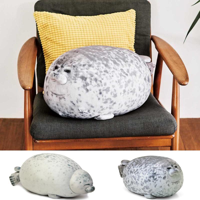 Novelty Cute Seal Plush Toy Sea Lion Stuffed Doll Soft Short Plush Sleeping Pillow Chair Cushion Gift For Kid Children Drop ship(China)