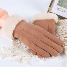 Autumn Winter Fashion Cute Furry Women Practical Gloves Outdoor Ski Snowboard Full Finger Touch Screen Thermal
